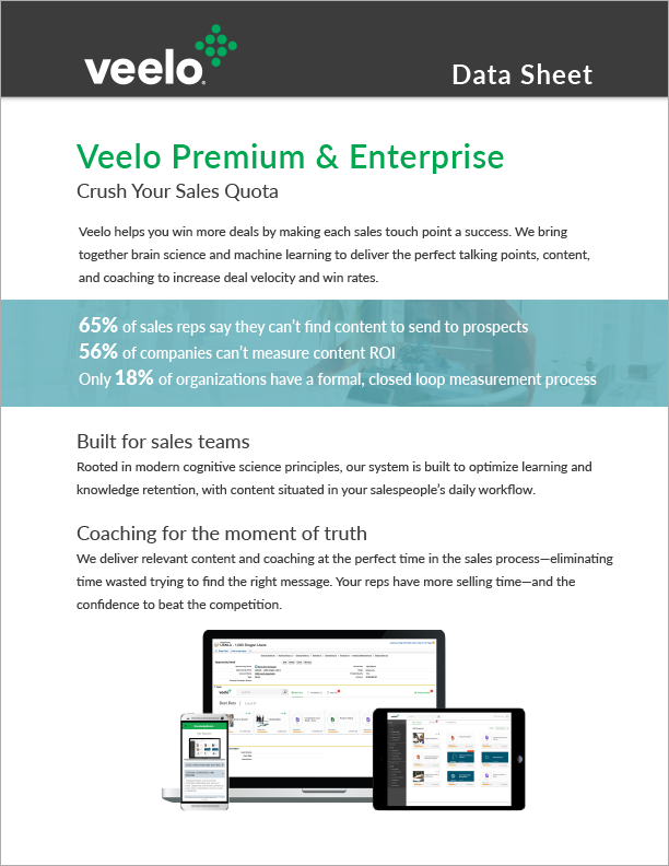 Veelo Premium and Enterprise Data Sheet
