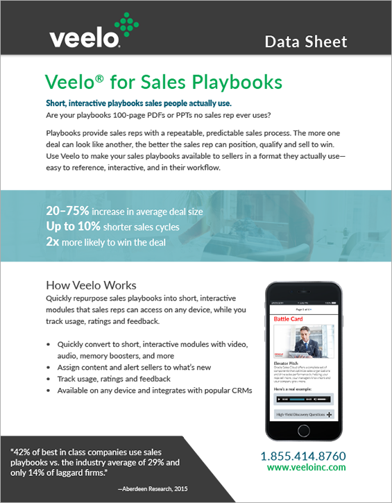 Veelo for Sales Playbooks Data Sheet